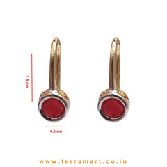 Cute Single Pink Stoned Zircon Hook Earrings