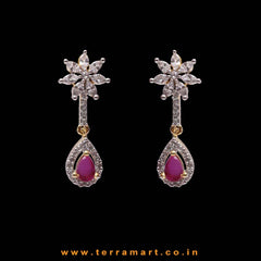 Classy White, Pink & Gold Stone Earrings - Terramart Jewellery