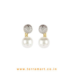 Glorious White & Gold Stoned Studded Earrings With Pearl - Terramart Jewellery