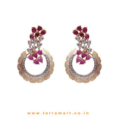 Fabulous Different Looking White & Pink Zircon Stone Earrings