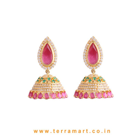 Traditional White, Green & Pink Zircon Stone Jumka
