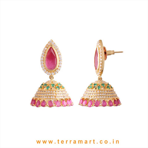Terramart - Grand & Traditional Zircon Stone Jumka for Women / Girls (White, Pink, Green & Gold)