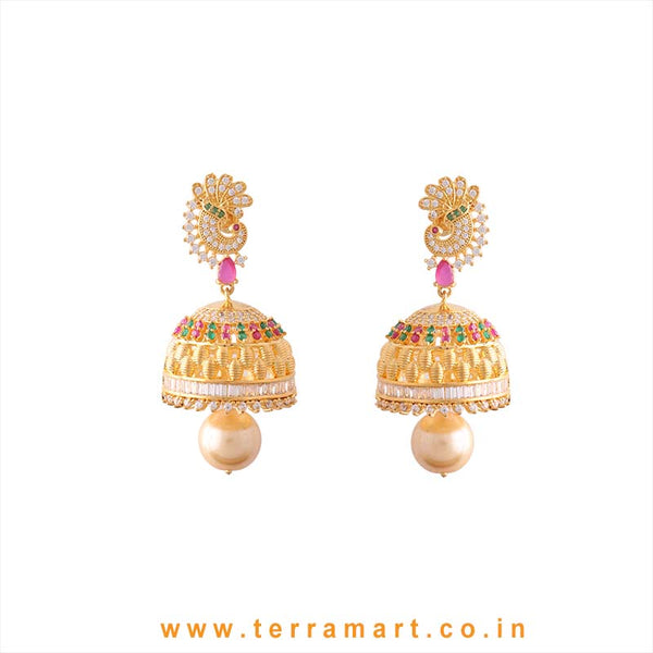 Terramart - Grand & Traditional Designed Zircon Stone Peacock Jumka for Girls / Women (White, Pink, Green & Gold)