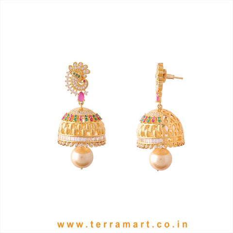 Amazing Peacock Designed White, Green, Pink & Gold Stone Jumka With Pearl - Terramart Jewellery