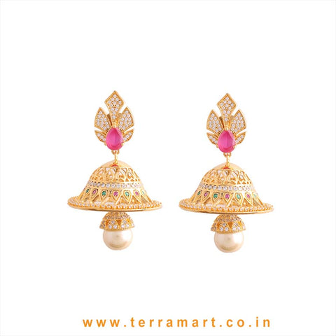 Different Looking Pink & White Zircon Stone Jumka