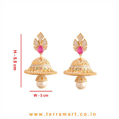 Terramart - Grand & Traditionally Designed Zircon Stone Jumka with Pearl for Girls / Women (Pink, White & Gold)