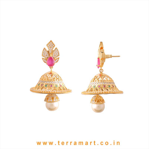 Different Looking White, Pink & Gold Zircon Stone Jumka - Terramart Jewellery