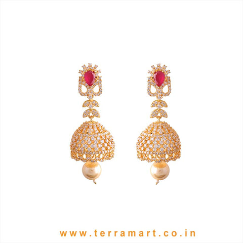 Pretty White, Pink & Gold Grand Jumka With Pearl - Terramart Jewellery