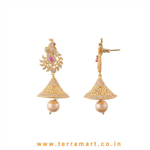Terramart - Grand & Traditional Designed Zircon Stone Peacock Jumka with Pearl for Girls / Women (pink, white & gold)