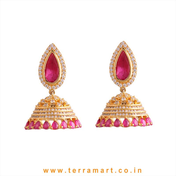 Terramart - Grand & Traditional Zircon Stone Jumka for Women / Girls (Pink, white & Gold)