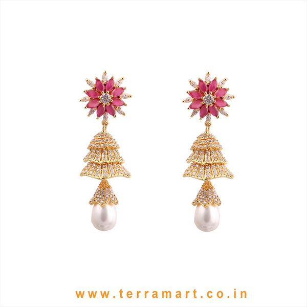 Terramart - Grand & Traditional Zircon Stone Jumka with Pearl for Women / Girls (Pink, White & Gold)