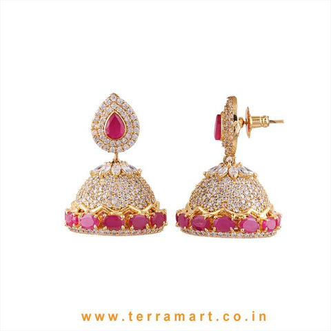 Terramart - Grand & Traditional Zircon Stone Jumka for Girls / Women (White, Pink & Gold)