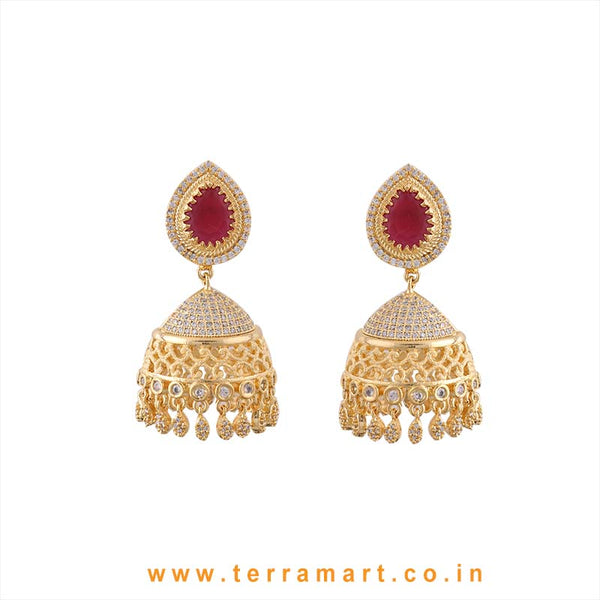 Terramart - Grand & Traditional Zircon Stone Jumka for Girls / Women (Pink, White & Gold)