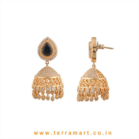 Terramart - Grand & Traditional Zircon Stone Jumka for Women / Girls (White, Black & Gold)