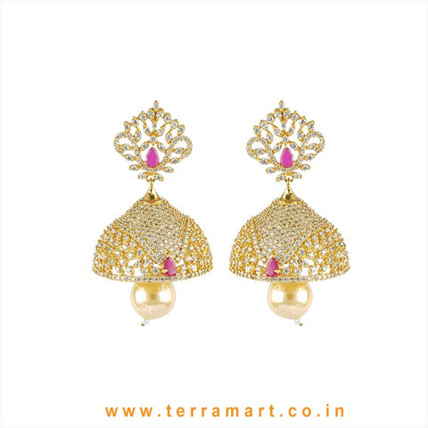 Terramart - Grand Zircon Stone Jumka with Pearl for Girls / Women  (Gold, Pink, White)