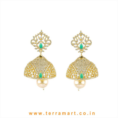 Terramart - Grand Zircon Stone Jumka with Pearl for Girls / Women (Gold, Green, White)
