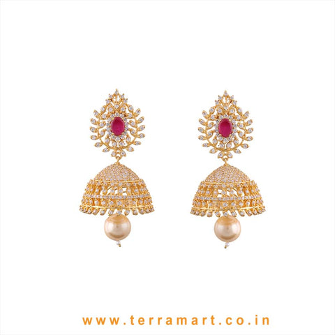 Terramart - Grand Zircon Stone Jumka with Pearl for Women / Girls  (White, Pink & Gold)