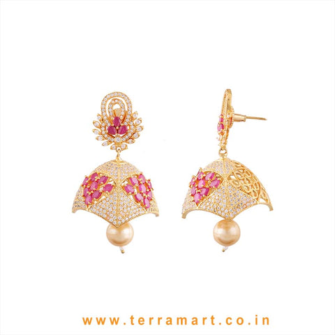 Terramart - Grand Zircon Stone Jumka with Pearl for Women / Girls  (Pink, Gold, White)