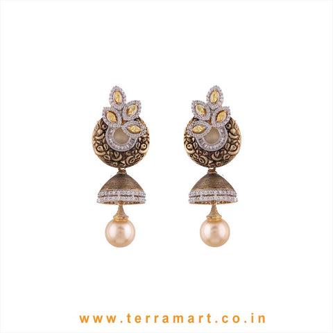 Marvellous White, Yellow & Gold Stone Jumka Set With Pearl - Terramart Jewellery