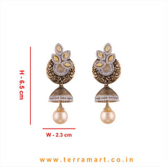 Terramart - Grand & Artistic Designed Zircon Stone Jumka with Pearl for Women / Girls  (Gold, White & Yellow)