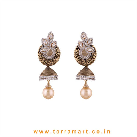 Terramart - Grand & Artistic Designed Zircon Stone Jumka with Pearl for Women / Girls  (white, gold)