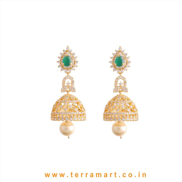 Terramart - Grand & Traditional Zircon Stone Jumka with Pearl for Women / Girls (Green, White and Gold)