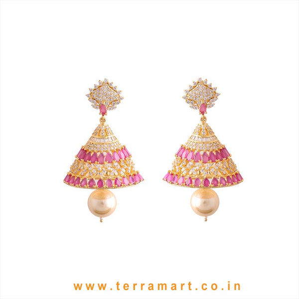 Terramart - Zircon Stone Jumka with Pearl for Women / Girls  (White, Pink and Gold)