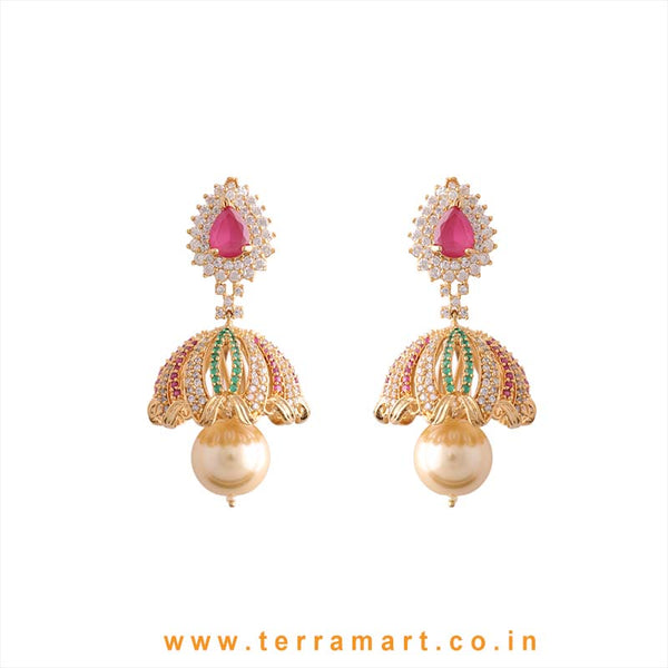 Terramart - Grand & Traditional Zircon Stone Jumka with Pearl for Women / Girls (Green, Pink, White and Gold)