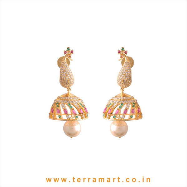 Terramart - Grand & Traditional Designed Zircon Stone Peacock Jumka with Pearl for Girls / Women (Pink, Green, White N Gold)