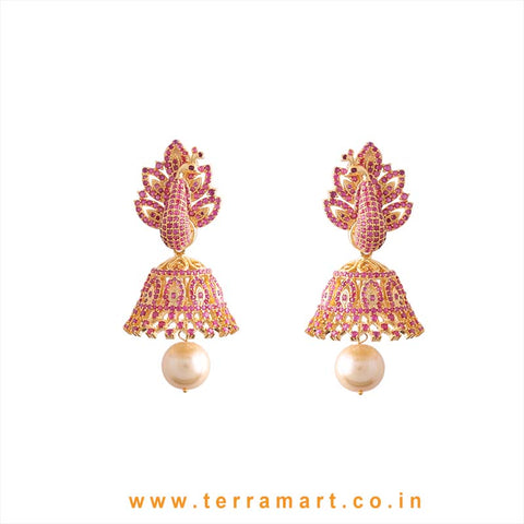 Terramart - Grand & Traditional Designed Zircon Stone Heavy Peacock Jumka with Pearl for Girls / Women (Pink & Gold)