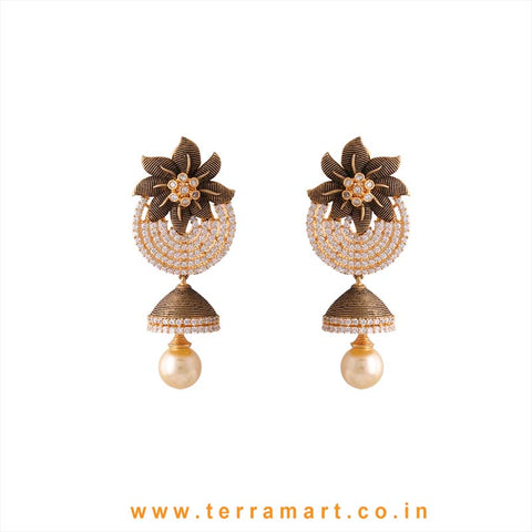 Terramart - Grand & Artistic Designed Zircon Stone Jumka with Pearl for Women / Girls  (White N Gold)