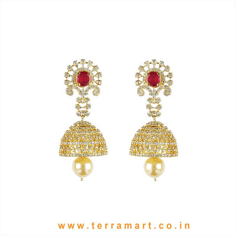 Terramart - Grand & Traditional Zircon Stone Jumka with Pearl for Girls / Women (Pink, Gold N White)