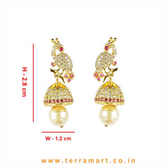 Facinating White & Pink Zircon Peacock Designed Jumka With Pearl
