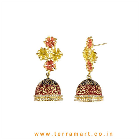 Terramart - Stylish & Artistic Zircon Stone Jumka for  Women / Girls (White & Gold) Enamel Work