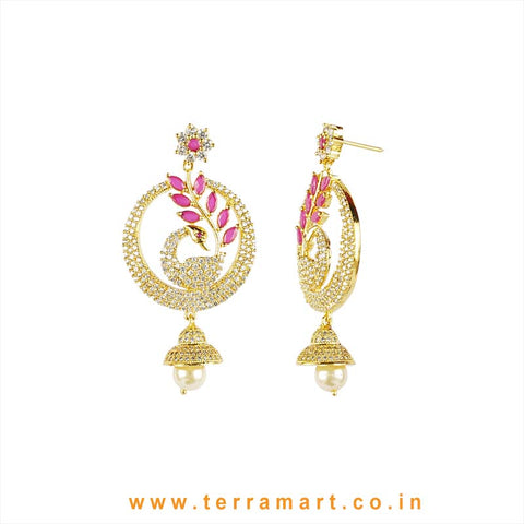 Terramart - Grand & Traditional Designed Zircon Stone Peacock Jumka with Pearl for Women / Girls (Pink, White - Gold)