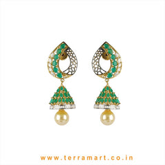 Green & White Zircon Stone Fancy Jumka Set With Pearl