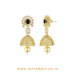 Terramart - Grand & Traditional Zircon Stone Jumka with Pearl for Women / Girls (White, Gold N Black)