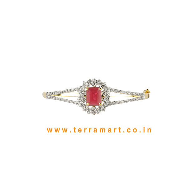 Terramart - Zircon Stone Bracelet for Women / Girls (White, Pink & Gold)