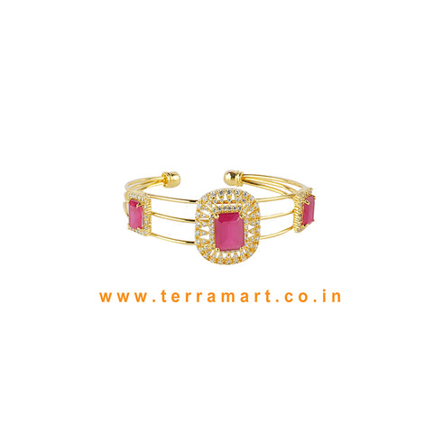 Terramart - Traditional Zircon Stone Bracelet for Women / Girls (White, Pink & Gold)
