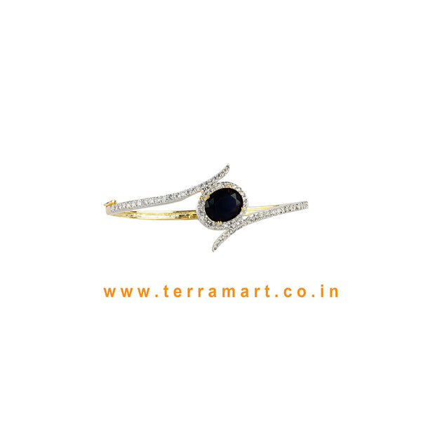 Terramart - Trendy Zircon Stone Bracelet for Women / Girls (White, Black & Gold)