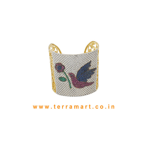 Terramart - Artistic Bird Designed Zircon Stone Bracelet for Women / Girls (White, Green, Blue, Pink & Gold)
