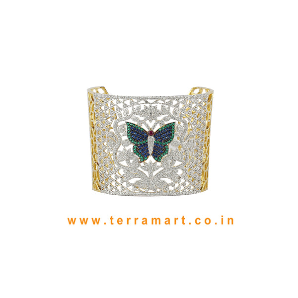 Terramart - Artistic Butterfly Designed Zircon Stone Bracelet for Women / Girls (White, Green, Blue, Pink & Gold)