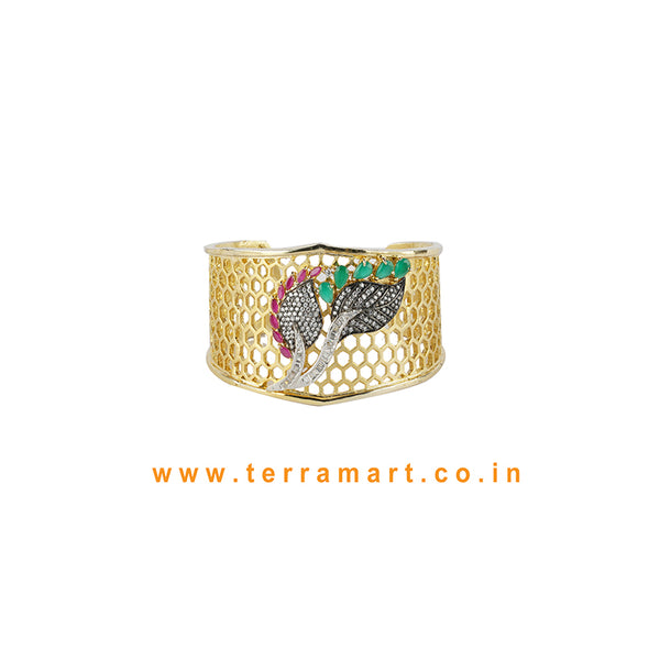 Terramart - Artistic Leaf Designed Zircon Stone Bracelet for Women / Girls (White, Green, Pink & Gold)