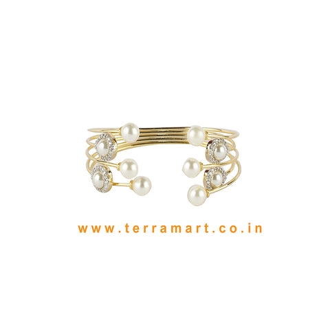 Terramart - Stylish Design Bracelet with Stone & Pearl for Women / Girls (White & Gold)