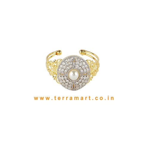 Terramart - Traditional Zircon Stone Bracelet for Women / Girls (White & Gold)