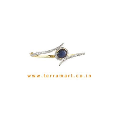 Cute Simple White, Blue & Gold Zircon Stone Bracelet - Terramart Jewellery