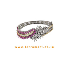 Terramart - Trendy New! Two Colour Tone Bracelet for Women / Girls ( Black & Grey Tone, White, Pink & Gold )