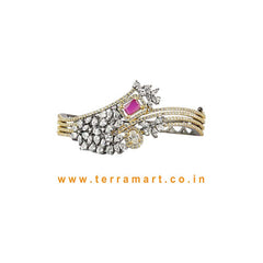 Terramart- Trendy New! Two Color Tone Zircon  Bracelet for  Girls / Women (Black & Grey Tone, White, Pink & Gold)