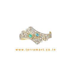Terramart- Trendy New!  Zircon Stone Bracelet for  Girls / Women ( White, Blue, Green & Gold)