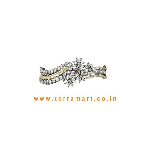 Terramart - Trendy New ! Two Color Tone Zircon  Bracelet for  Women / Girls  (Black, Grey Tone, White, Gold)